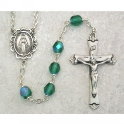 6mm Sterling Silver Emerald/May Rosary