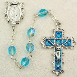 6mm Aqua/March Rosary w/Enamel Crucifix