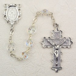 6mm Crystal/April Rosary w/Enamel Crucifix