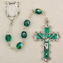 6mm Emerald/May Rosary w/Enamel Crucifix