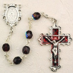 6mm Garnet/January Rosary w/Enamel Crucifix