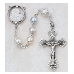7mm Sterling Silver Multi Pearl Rosary