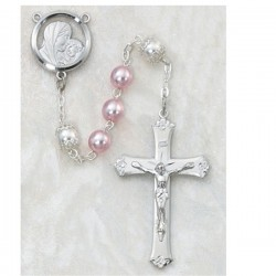 7mm Sterling Silver 7mm Pink Pearl Rosary