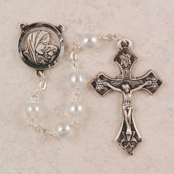 7mm White Pearl Glass Sterling Silver Rosary