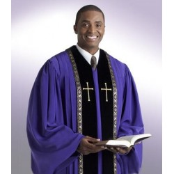 Wesley Clergy Robe - Black w/Gold trim