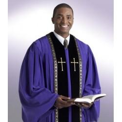 Wesley Clergy Robe - Black w/Gold trim