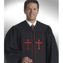 Cleric Clergy Robe - Black w/Red piping