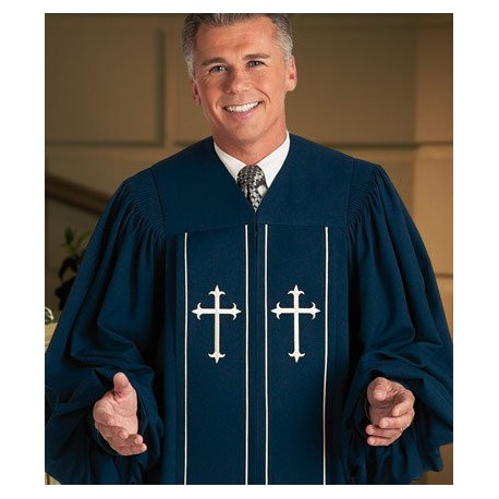 Cleric Pulpit Robe - Blue w/Latin Cross