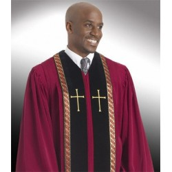 Wesley Clergy Robe - Garnet w/Black panels