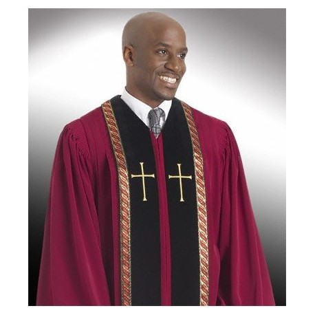 Wesley Clergy Robe - Garnet w/Black panels