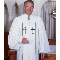 Cleric Clergy Robe - White w/Latin Cross