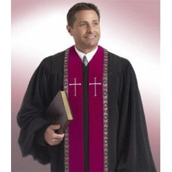 Wesley Clergy Robe - Black w/Red-Silver trim