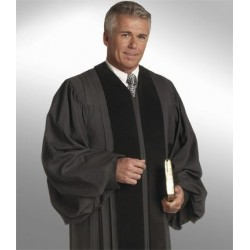 Wesley Clergy Robe - Black w/Black panels