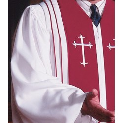 Clergy Robe Bishop - White w/Scarlet panels
