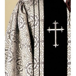 Clergy Robe Bishop - Silver w/Black panels