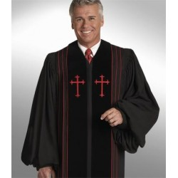 Clergy Robe Bishop - Black w/Black panels
