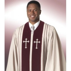 Clergy Robe Bishop -Biege w/Maroon panels