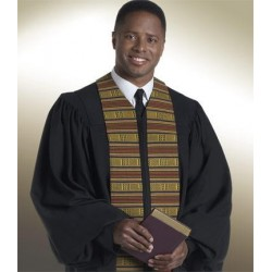 Heritage Clergy Robe - Black w/Kente panels