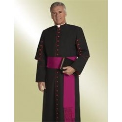 Cassock - Black w/Scarlet piping