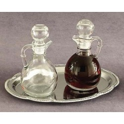 Hand Blown Cruet Set with Chrome Tray