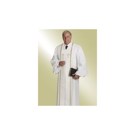 Wesley Clergy Robe - White w/Gold trim