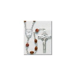 Brown Oval Cocoa Bead Sterling Silver Rosary - Boxed