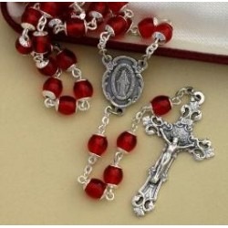 7mm Ruby Rosary with Sterling Silver Crucifix & Center - Boxed