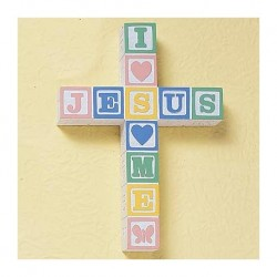 I Love Jesus Block Wall Cross