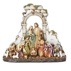 Kneeling Nativity w/Stone Wall