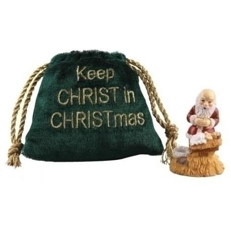 Kneeling Santa in Velvet Pouch Bag