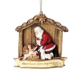 Kneeling Santa Scene Ornament