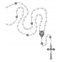 Rosary-White w/ Purple Flower
