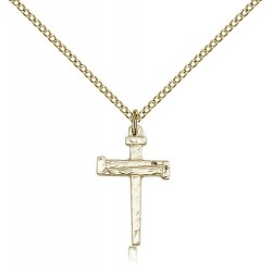 Gold Filled Nail Cross Pendant