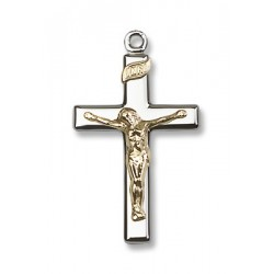 Two-Tone GF/SS Crucifix Pendant