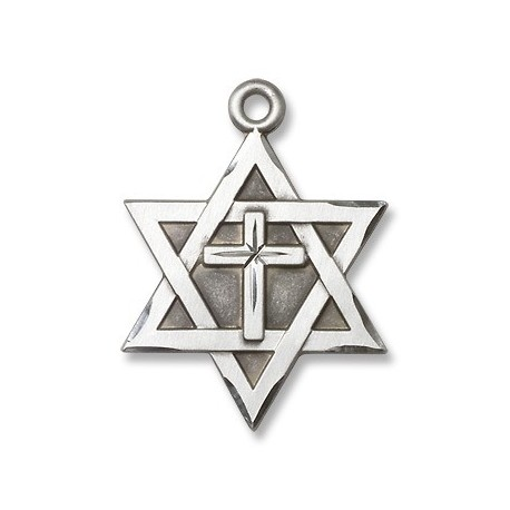 Star of David w/Cross Sterling Silver Pendant