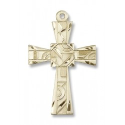 Gold Filled Mosaic Cross Pendant