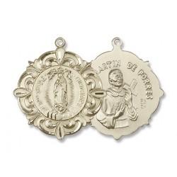 Gold Filled O/L of Guadalupe / Martin de Porres