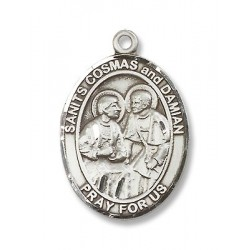 Sts. Cosmas & Damian Sterling Silver Pendant