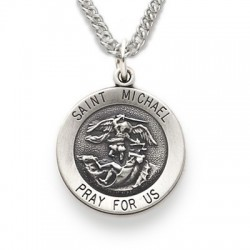 """St. Michael Sterling Silver Round Medal w/20"""" Chain"""