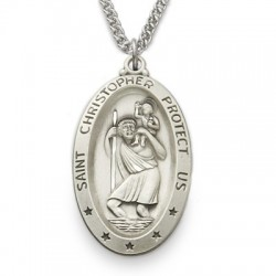 """St. Christopher Sterling Silver Oval Medal w/24"""" Chain"""