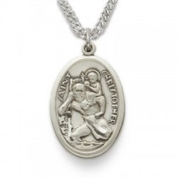 "St. Christopher Sterling Silver Large Oval Medal w/20"" Chain"