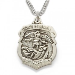 """St. Michael Sterling Silver Shield-Shaped Medal w/20"""" chain"""