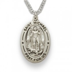 """St. Michael Sterling Silver Oval Medal w/20"""" Chain"""