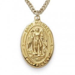 """St. Michael 24K Gold Over Sterling Silver Oval w/20"""" Chain - Boxed"""