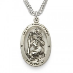 """St. Christopher Sterling Silver Oval Medal w/20"""" Chain"""