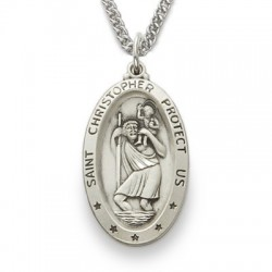 "St. Christopher Sterling Silver Large Oval Medal w/24"" Chain"
