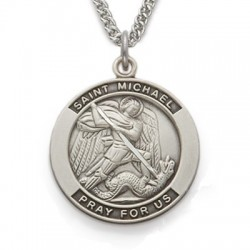 """St. Michael Medal Sterling Silver Round w/24"""" Chain"""