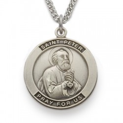 St. Peter Sterling Silver Medal Necklace Patron