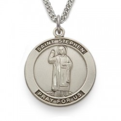 St. Stephen Sterling Silver Medal Necklace Patron