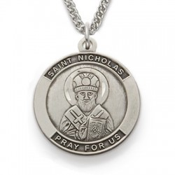 St. Nicholas Sterling Silver Medal Necklace Patron